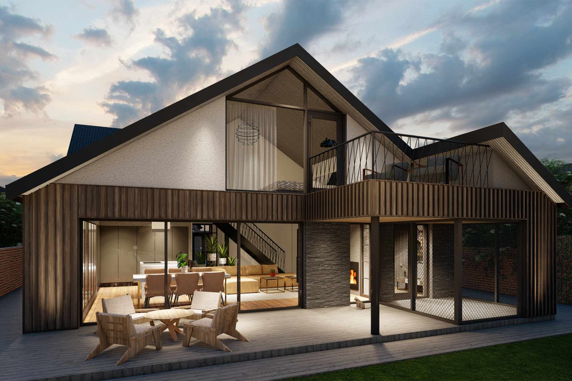 Timber clad, modern bungalow rear extension with balcony and catio
