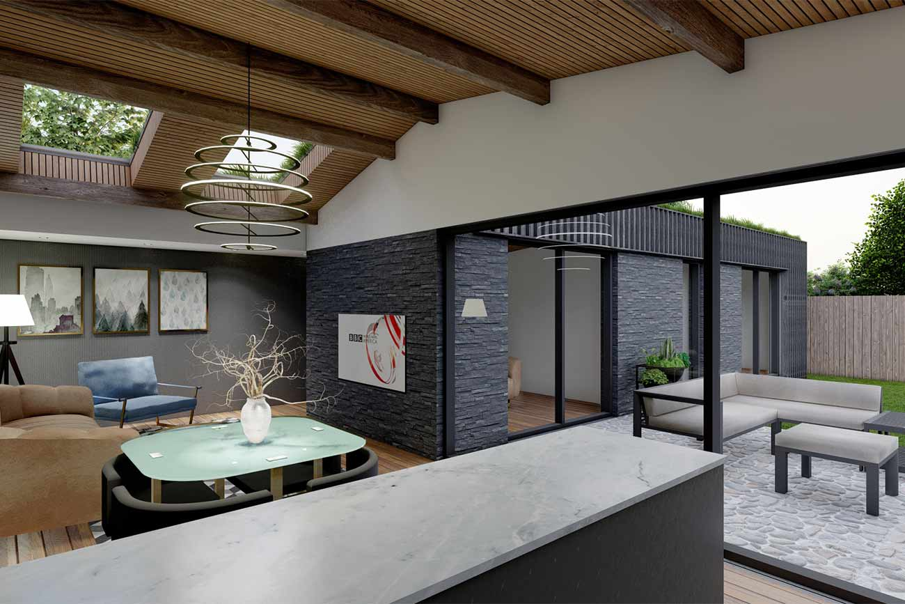 granny annexe modern interior with vaulted ceiling