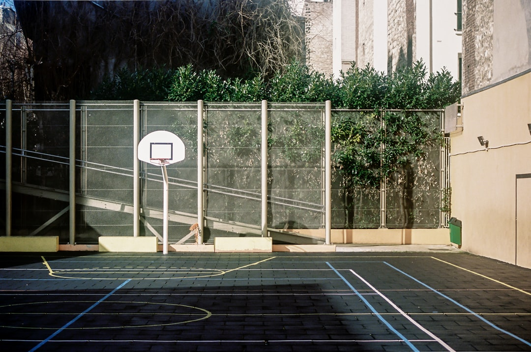 white basketball hoop near green trees during daytime