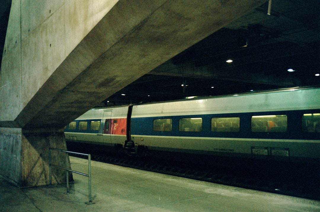 blue red and white train