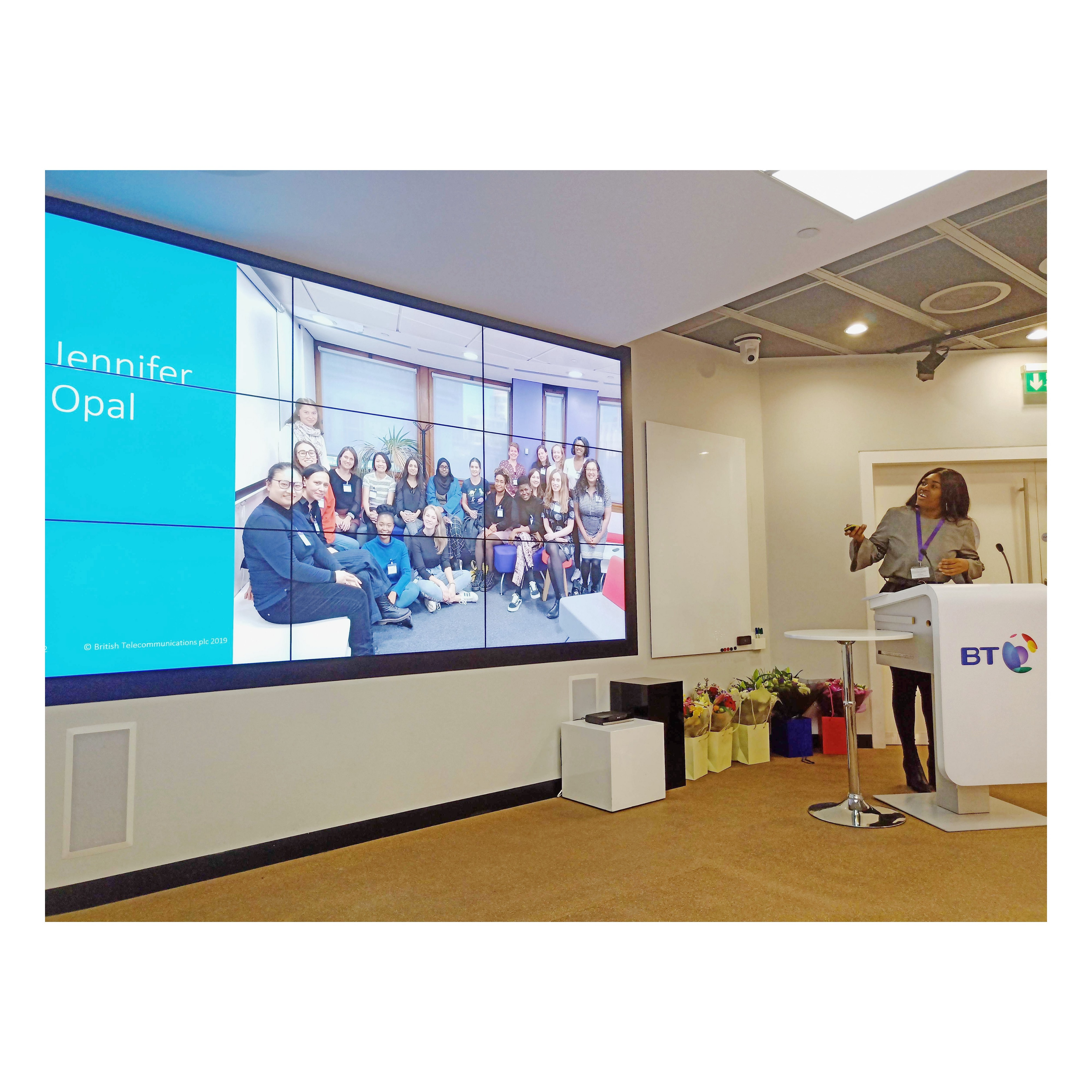Jennifer Opal giving a speech at BT Groups Head Office in London