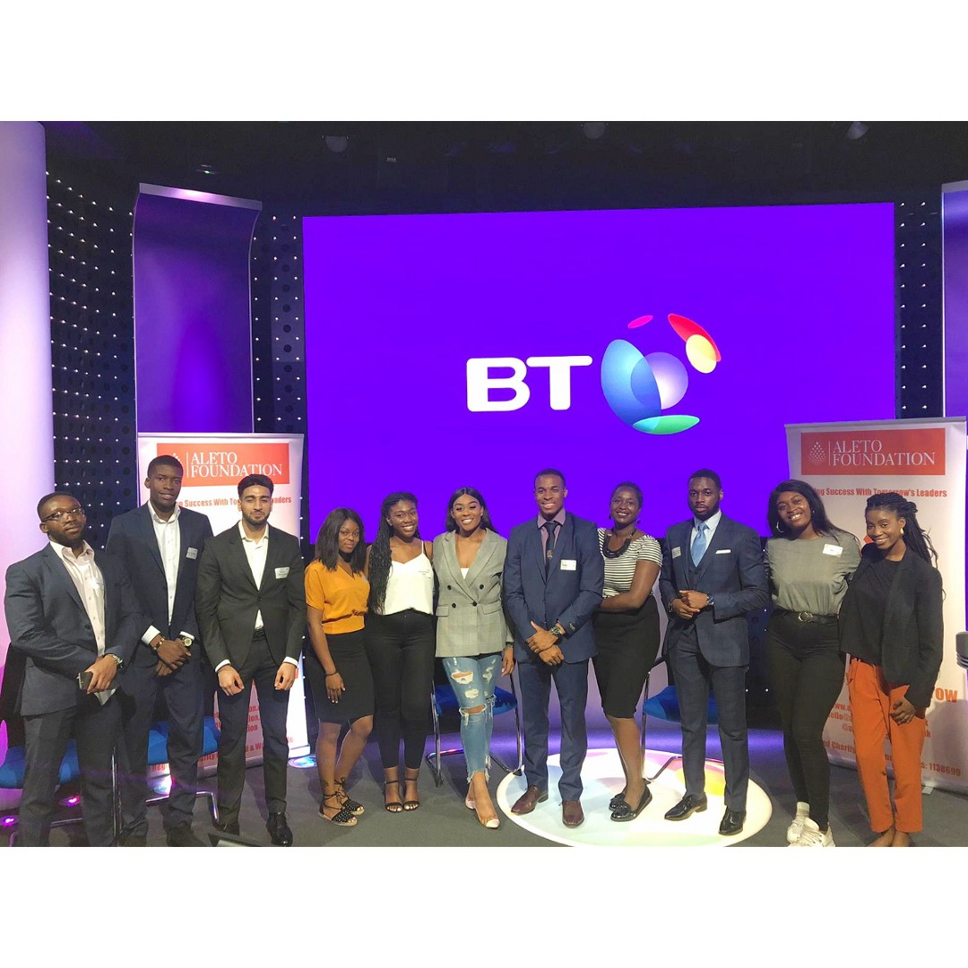Jennifer Opal, YouTuber and motivational speaker, Nissy Tee, and Team F on the Aleto Leadership Foundation sponsored by BT Group