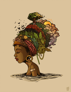 Artwork of a black woman with a visual representation of mother earth wrapped in a headscarf mounted on her head. Artwork By Aaron Griffin | Source for Black Ladies