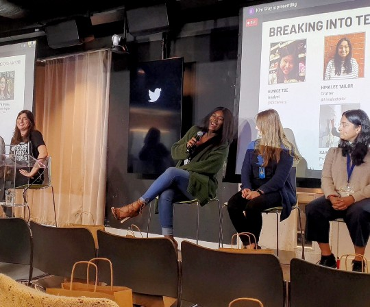 Jennifer Opal speaking as part of a panel at the Code First: Girls Conference in November 2019