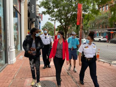 Councilmember Pinto on a public safety walk in the Penn Quarter/Chinatown neighborhood.
