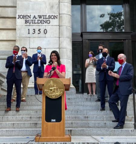 Councilmember Pinto surrounded by her Council colleagues during her June 2020 Swearing-In Ceremony.