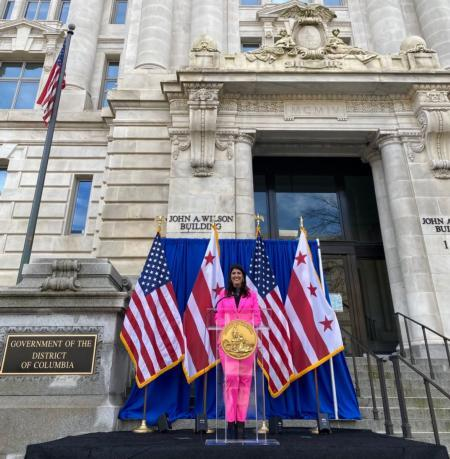 Councilmember Pinto on the steps of the John A. Wilson Building after the Swearing In Ceremony.