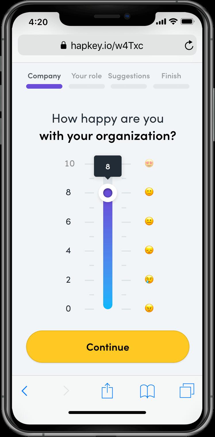 Hapkey mockup showing the survey app