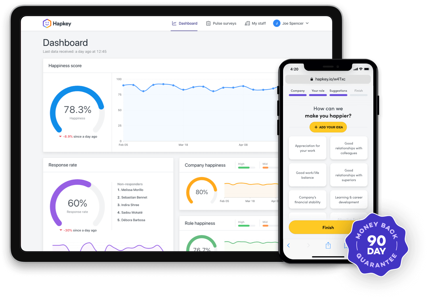 Hapkey mockup showing the dashboard and the survey app