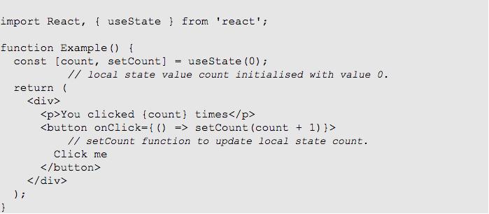 hooks useState react version 16.8.0
