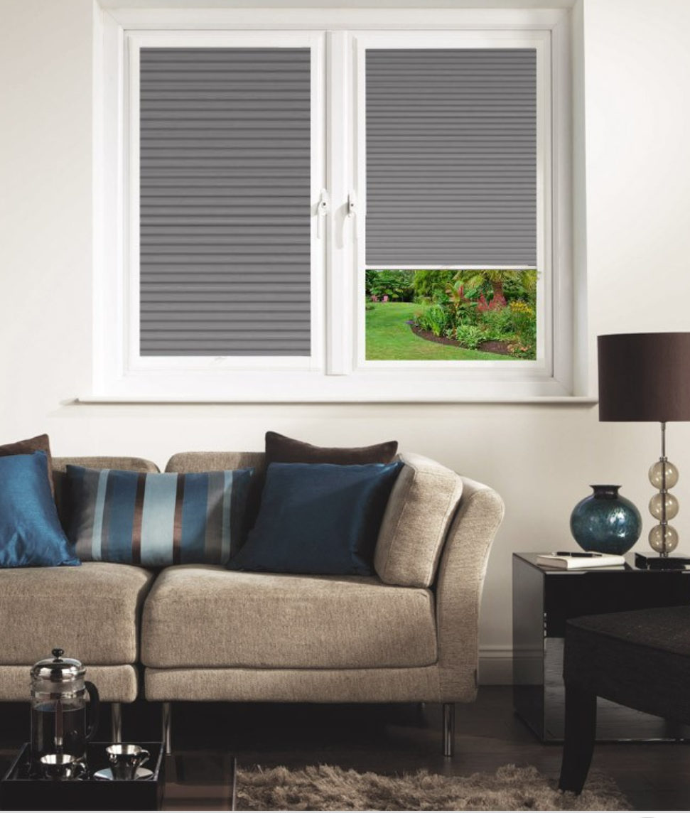 Grey pleated blind