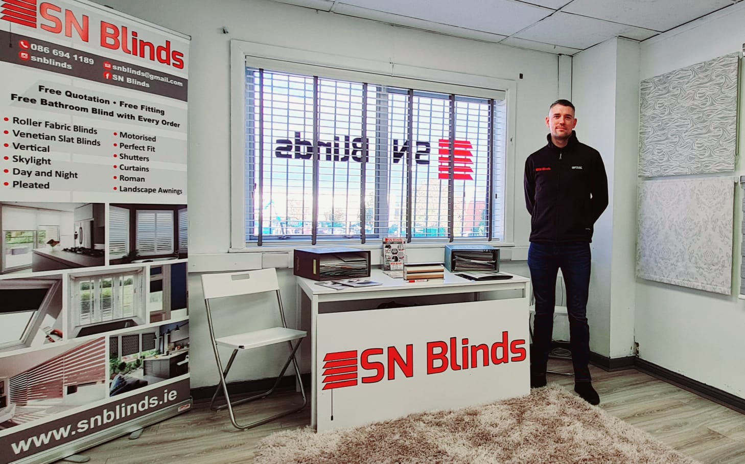 Owner Sam Nolan in the SN Blinds office.