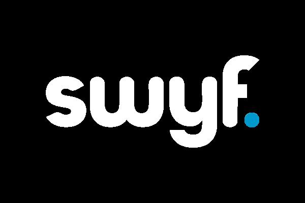 White swyf logo with blue dot