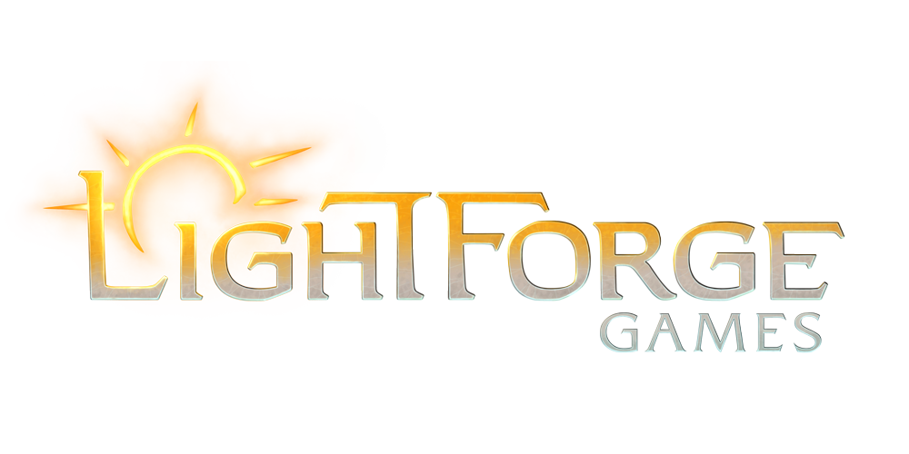Lightforge Games logo, featuring a stylized sun icon above the letter i.