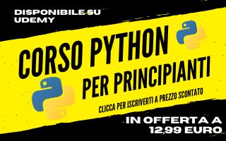 Corso Python per principianti a 12,99 su Udemy