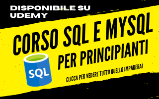 Corso SQL e MySQL per principianti a 12,99 su Udemy