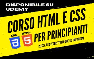 Corso HTML e CSS per principianti a 12,99 su Udemy