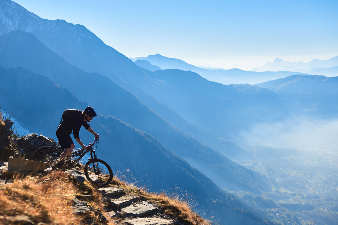 Stairway to heaven. One of the longer mountain bike rides in Chamonix