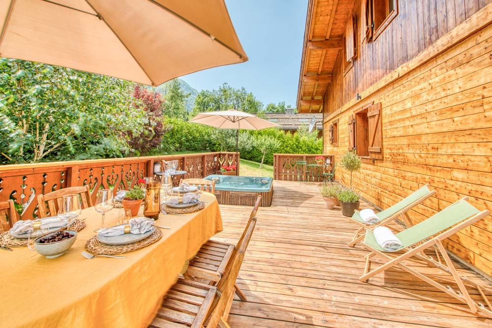 The sun kissed terrace at Chalet Annabelle