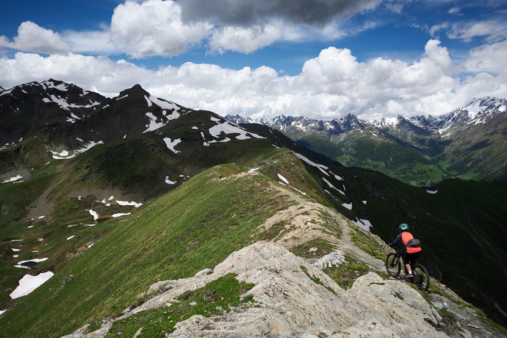 mountain biking in Chamonix on high altitudes