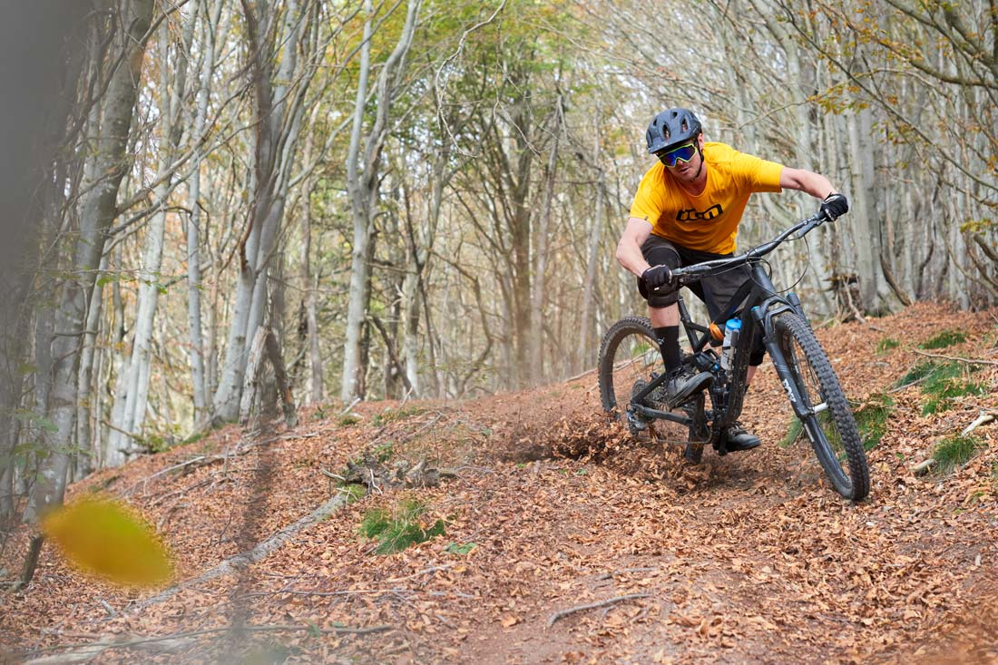 Mountain biking powder turns