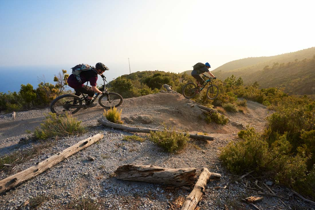 Speed demons riding fast through one of the best trails in Finale Ligure