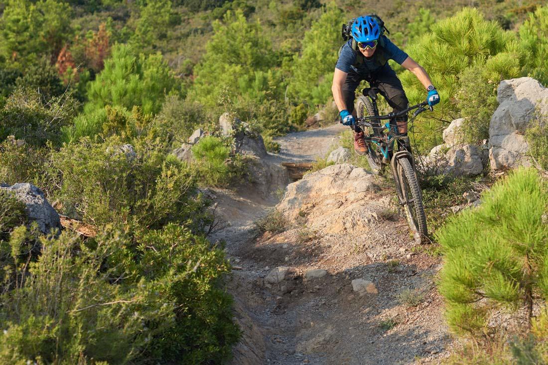 mountain biking on the famous trail, DH Man, in Finale Ligure
