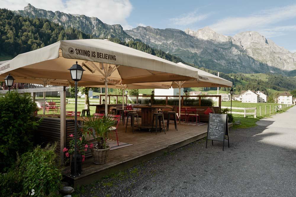 Outdoor summer bar at Ski Lodge Engelberg
