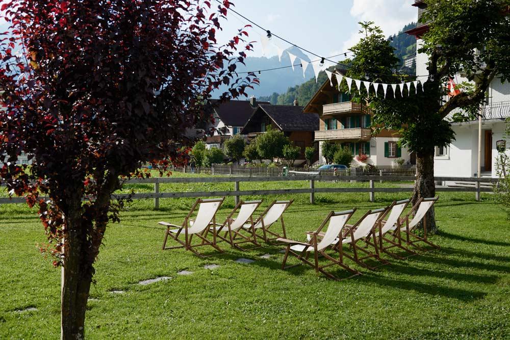 Relaxing outdoor patio at Ski Lodge Engelberg