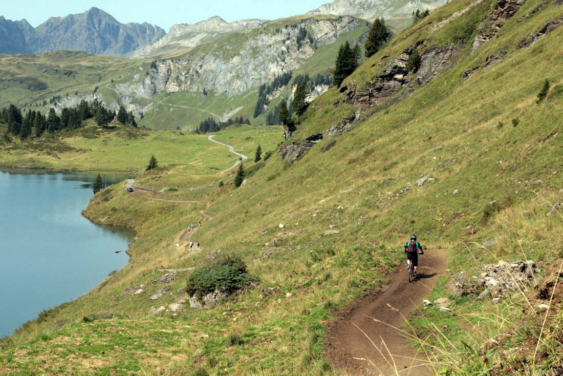 Smooth and long single tracks along the alpine lakes in Switzerland