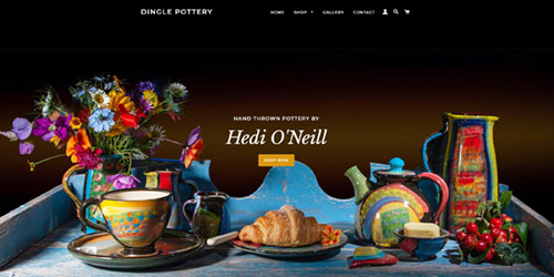 A screenshot of Dingle Pottery's website