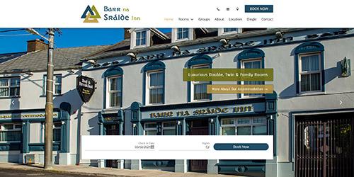 A screenshot of Barr Na Sráide's website
