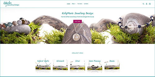 A screenshot of Kelly Marie Jewellery Design's website