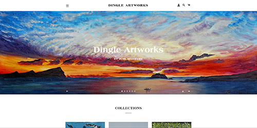 A screenshot of Dingle Artwork's website