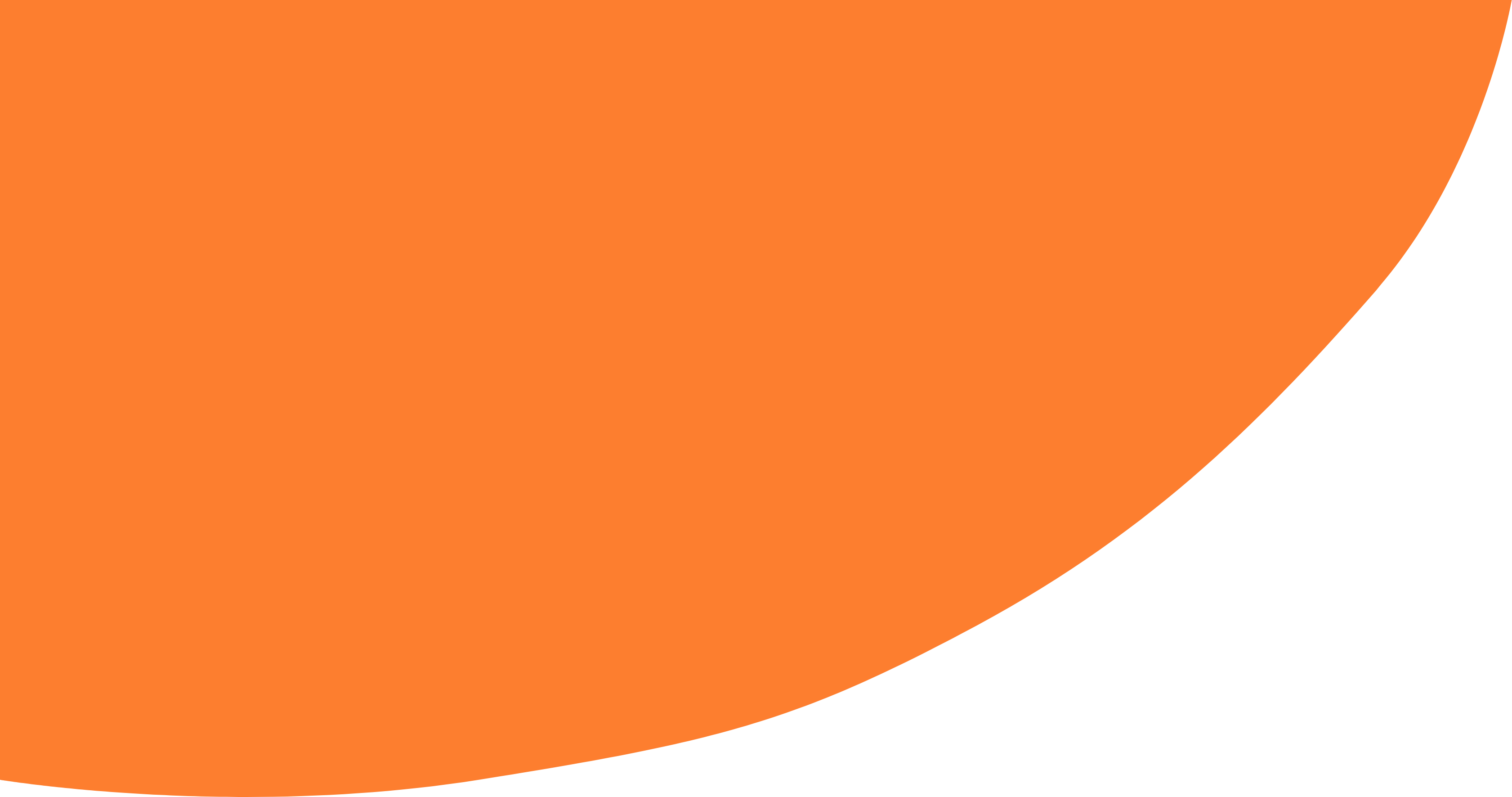 An orange arc in the background of the website.