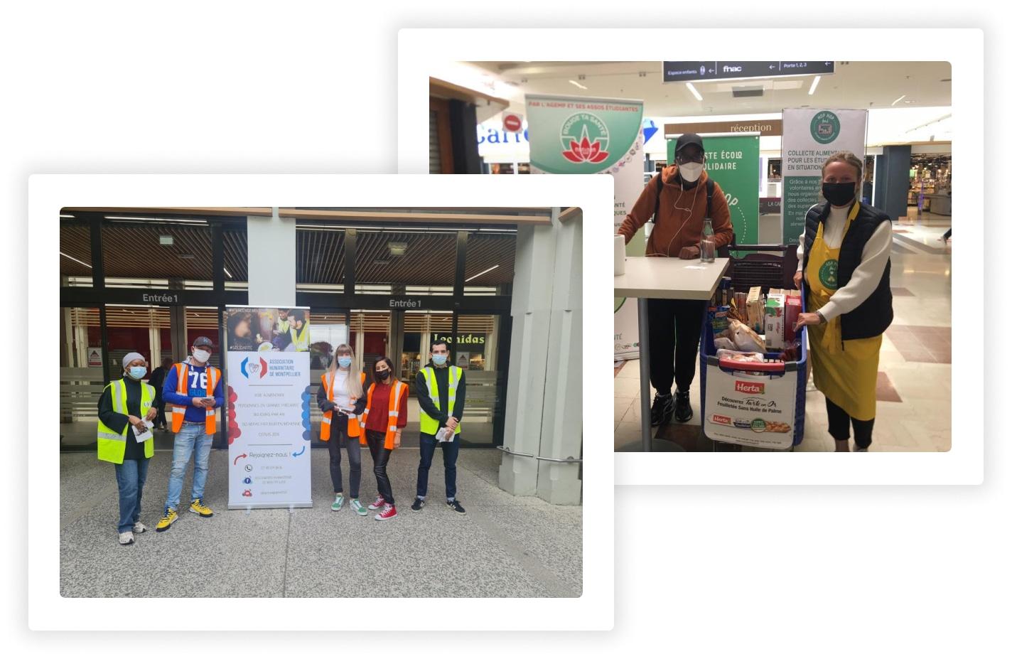 Photos de collecte alimentaires au sein du réseau Carmila