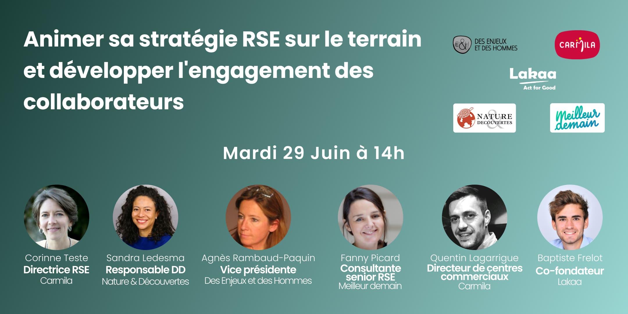Bannière de présentation du webinar de Lakaa sur comment animer sa stratégie RSE sur le terrain et développer l'engagement des collaborateurs
