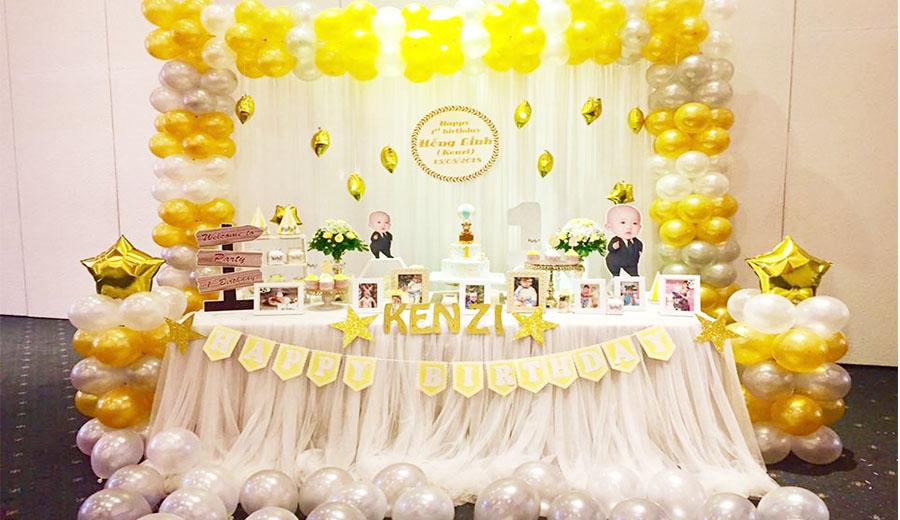 trang trí sinh nhật màu vàng