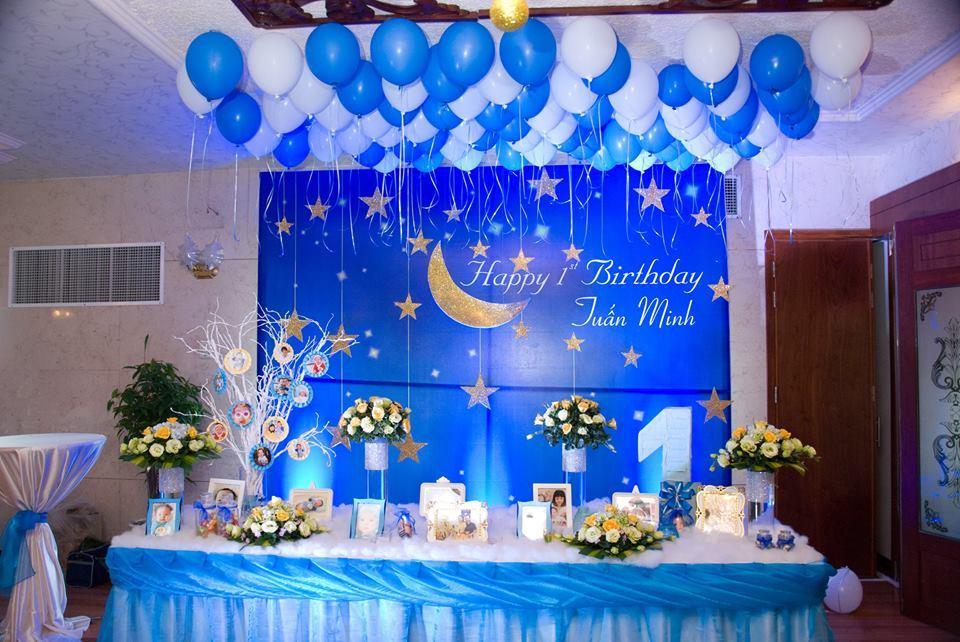 trang trí sinh nhật màu xanh dương