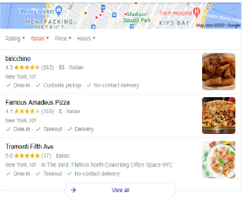 Google 3 pack example local seo nyc