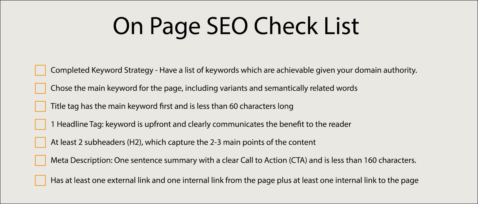 Small Business SEO Services On Page SEO checklist