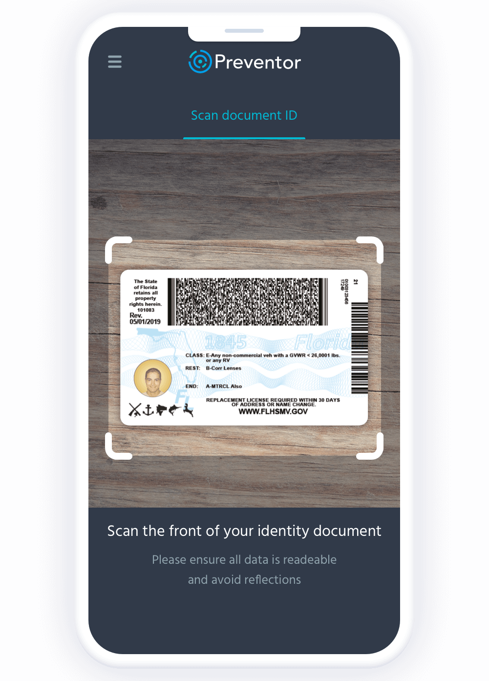 Government issued id authentication-back.