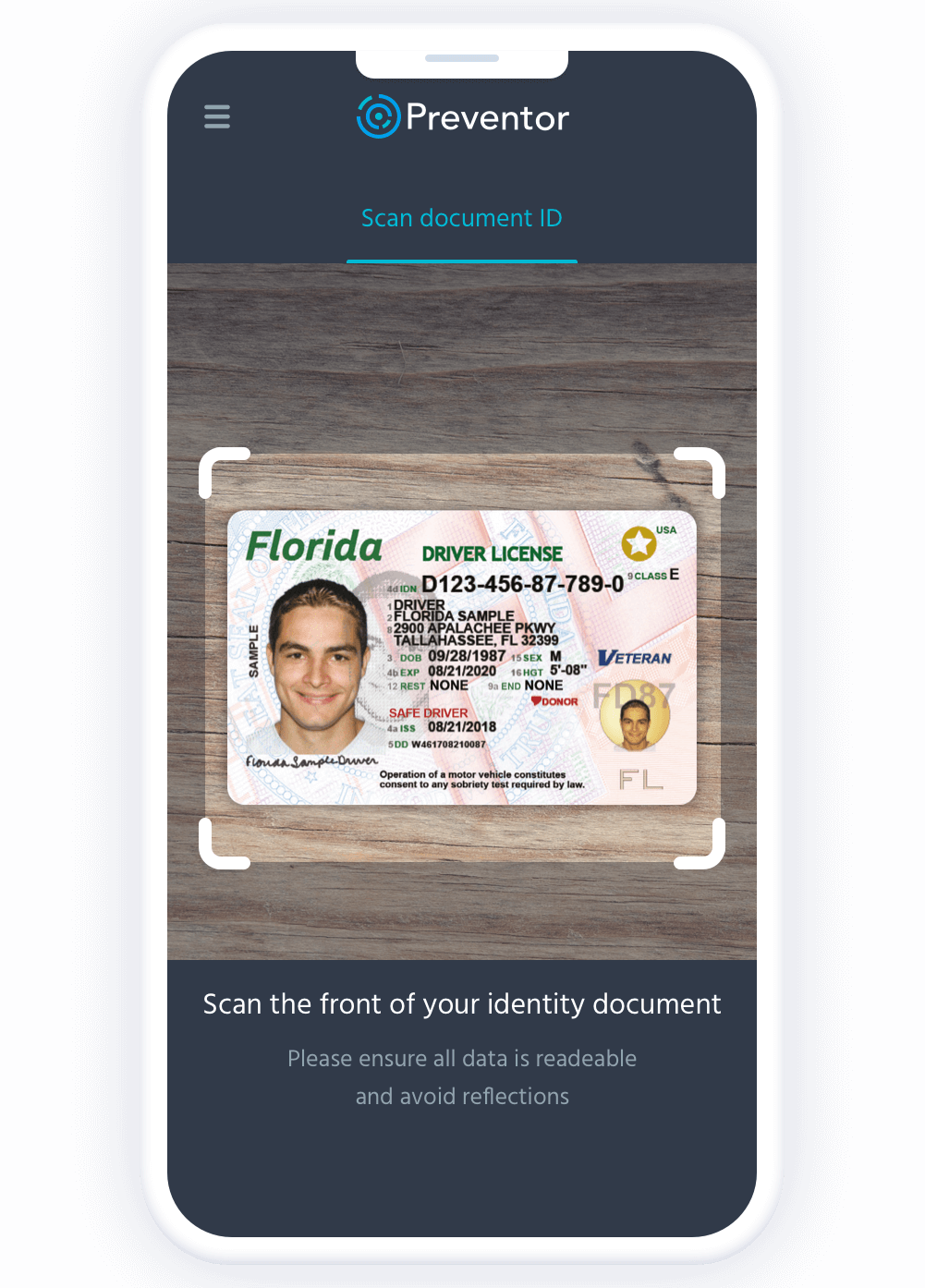 Government issued id authentication-front.