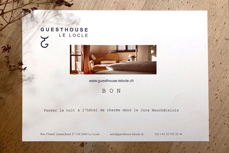 Gift Certificate for a charming hotel.