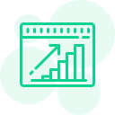 a green silhouette icon of a bar graph and an upward arrow representing growth