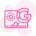 "A pink silhouette icon with a webpage and a ""G"" suggesting Google for SEO"