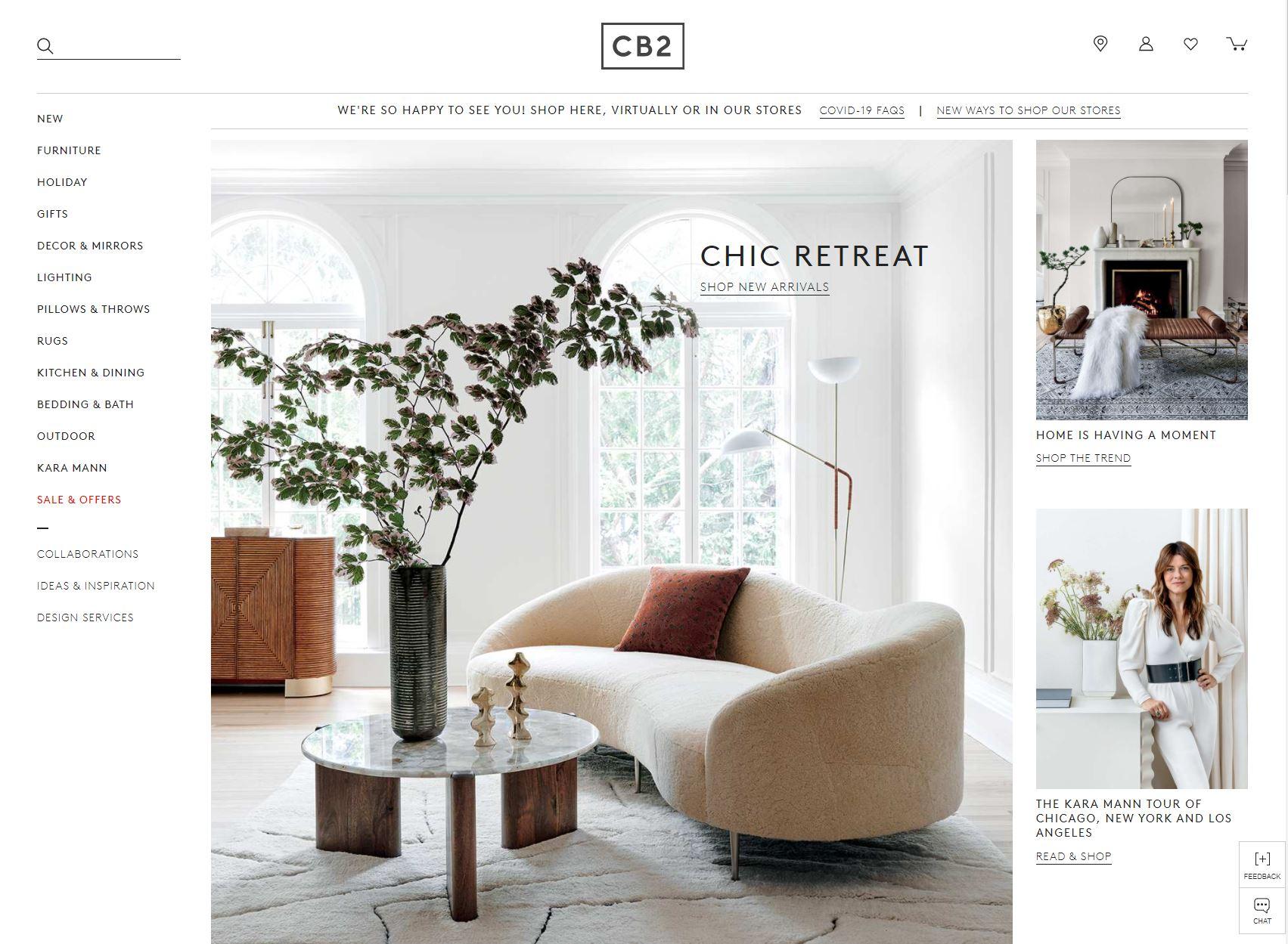 a screenshot of the CB2 website
