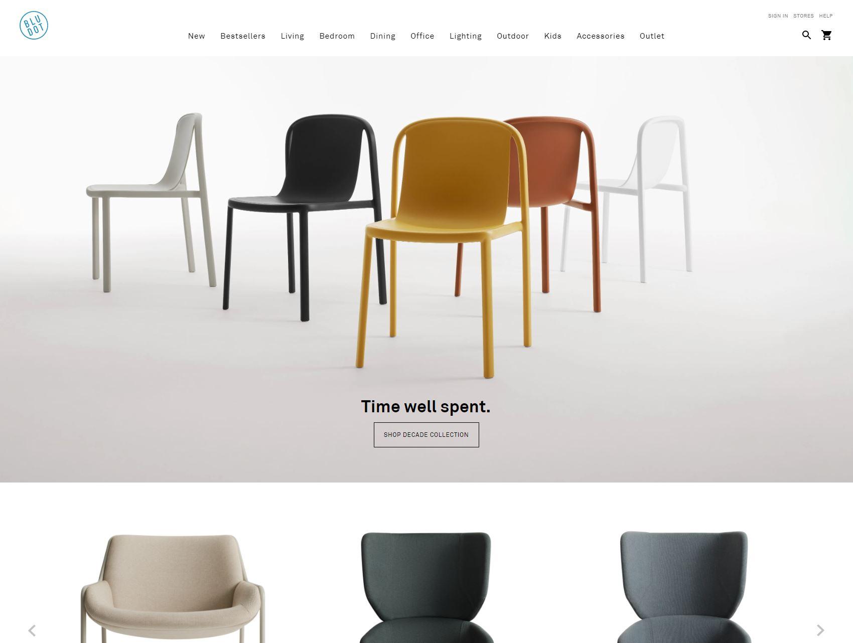 a screenshot of the BluDot website