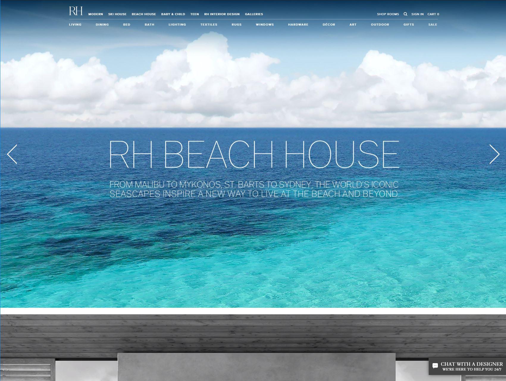 a screen shot of the restoration hardware website
