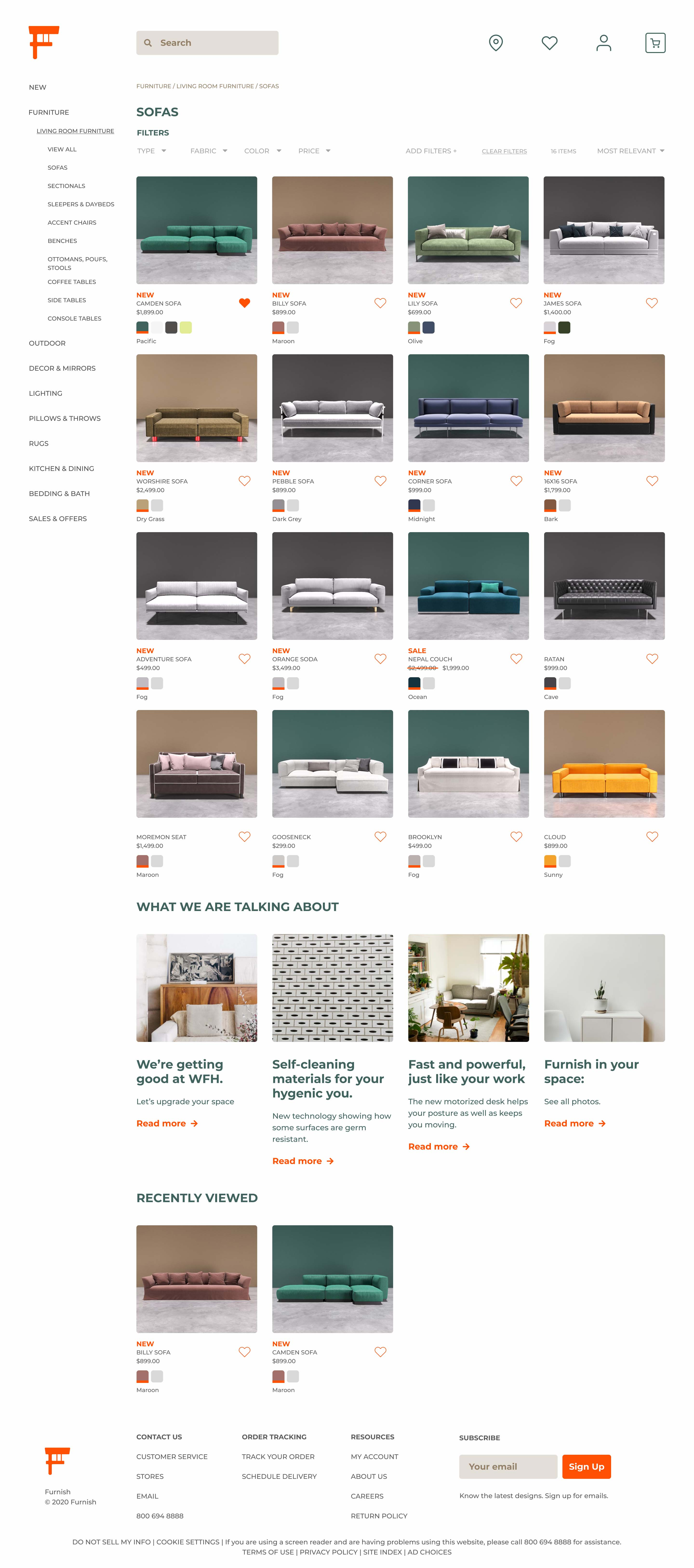 A High fidelity rendering of the Furnish Web App product catalogue page of sofas